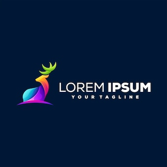 Diseño de logotipo de color degradado de ciervo