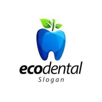 Diseño de logotipo de color degradado eco dental