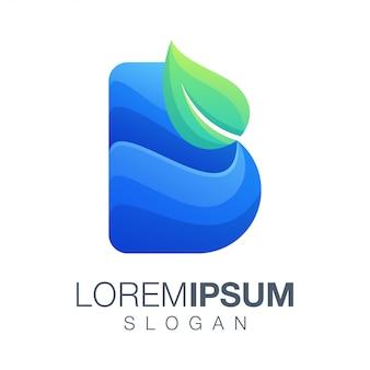 Diseño de logotipo de color de degradado de hoja de letra b