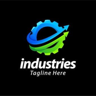 Diseño de logotipo de color degradado de industrias de engranajes