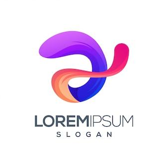 Diseño de logotipo de color degradado de letra 2