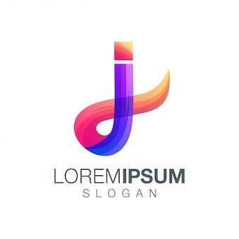 Diseño de logotipo de color degradado de letra j