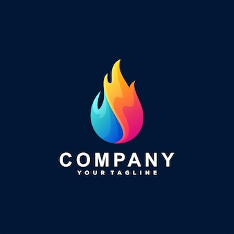 Diseño de logotipo de color degradado de llama