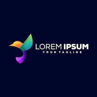 Diseño de logotipo de color degradado de pájaro