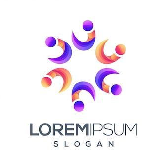 Diseño de logotipo de color degradado de personas
