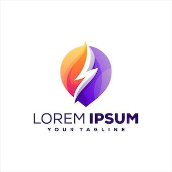 Diseño de logotipo de color degradado de trueno