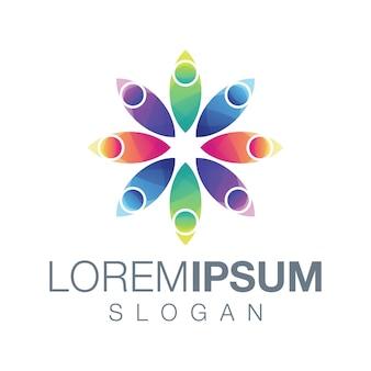 Diseño de logotipo de color gardient de personas