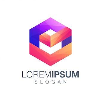 Diseño de logotipo de color de inspiración hexagonal