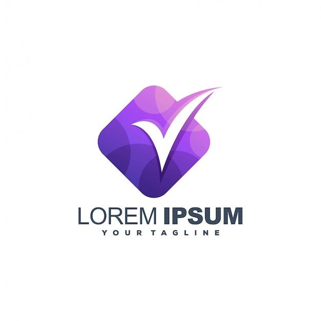Diseño de logotipo de color de medios de lista de verificación