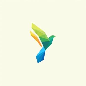 Diseño de logotipo de color de pájaro inspiración impresionante