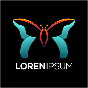 Diseño de logotipo de colorfull mariposa