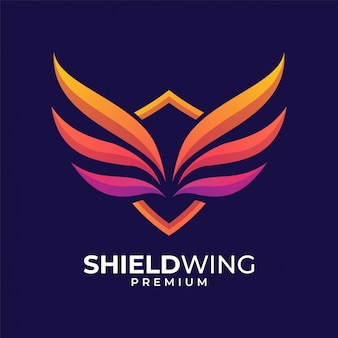 Diseño de logotipo colorido ala de escudo