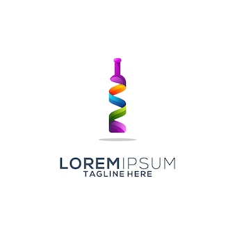 Diseño de logotipo colorido botella de vino