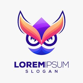 Diseño de logotipo colorido búho