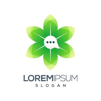 Diseño de logotipo colorido de chat icono de hoja