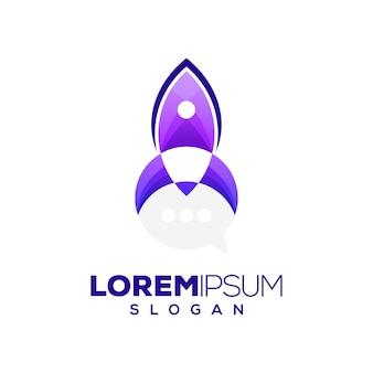 Diseño de logotipo colorido cohete