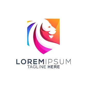 Diseño de logotipo colorido escudo león