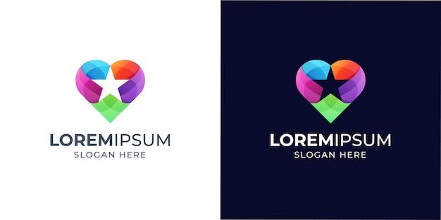 Diseño de logotipo colorido estrella y amor