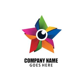Diseño de logotipo colorido de la estrella simplemente elegante y lujoso