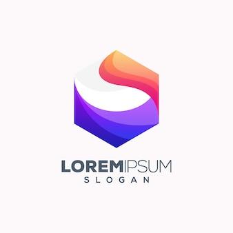 Diseño de logotipo colorido hexagonal