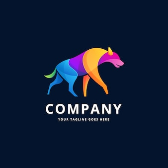 Diseño de logotipo colorido de hiena