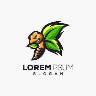 Diseño de logotipo colorido hoja de avispa