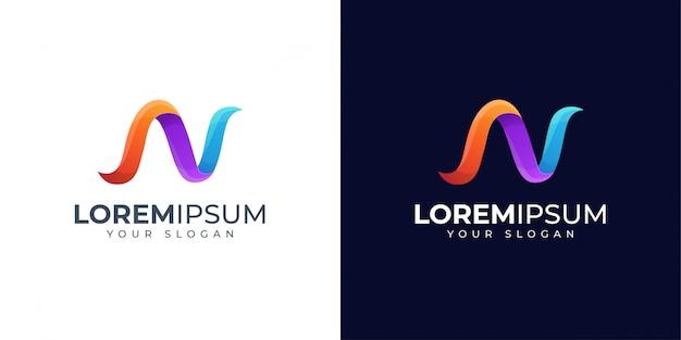Diseño de logotipo colorido letra n