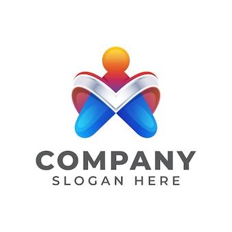 Diseño de logotipo colorido letra a con símbolo de personas