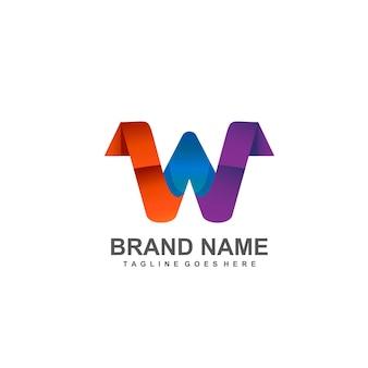 Diseño de logotipo colorido letra w
