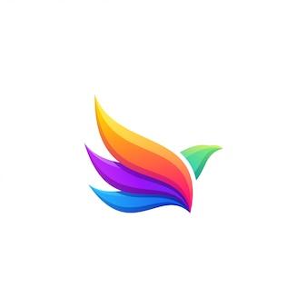 Diseño de logotipo colorido pájaro volador