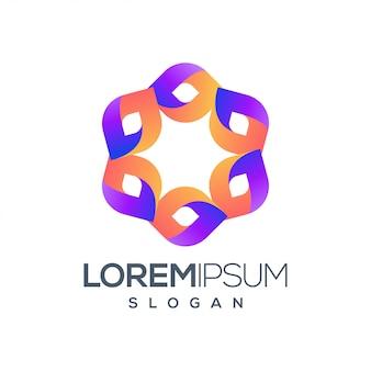 Diseño de logotipo colorido de personas hexágono