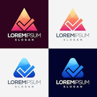 Diseño de logotipo colorido triángulo lista de verificación