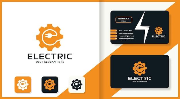 Diseño de logotipo de combinación de enchufe de engranaje y tarjeta de visita