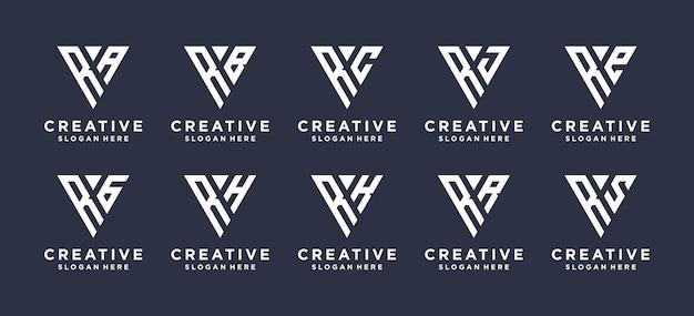 Diseño de logotipo de combinación de letra r monograma.