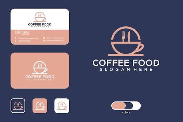 Diseño de logotipo de comida de café y tarjeta de visita