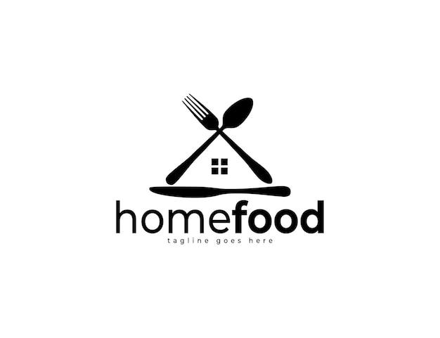 Diseño de logotipo de comida casera con cuchara, tenedor y cuchillo de cocina.