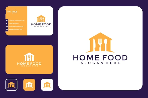 Diseño de logotipo de comida casera y tarjeta de visita.