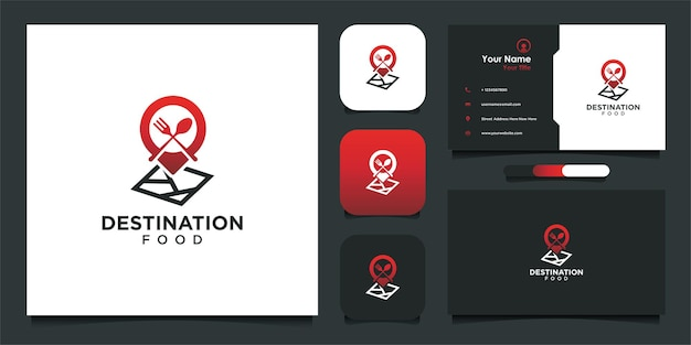 Diseño de logotipo de comida de destino y tarjeta de visita.