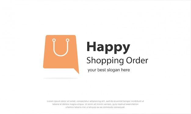 Diseño de logotipo de compras feliz