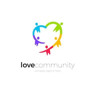 Diseño de logotipo de comunidad de amor