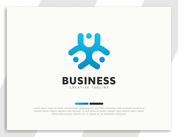 Diseño de logotipo de comunidad o unidad de personas de trabajo en equipo
