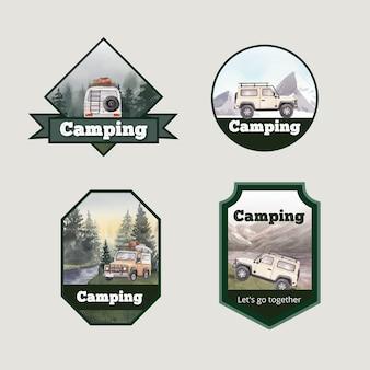 Diseño de logotipo con concepto de campista feliz