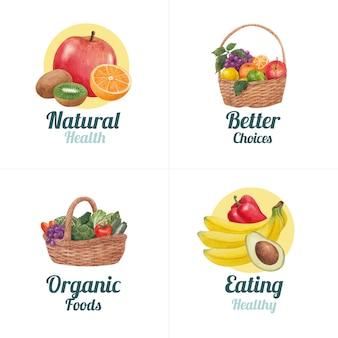 Diseño de logotipo con concepto de comida sana, estilo acuarela
