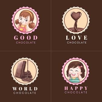 Diseño de logotipo con concepto del día mundial del chocolate