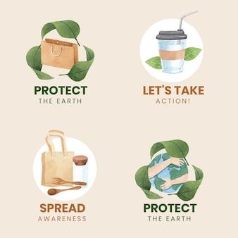 Diseño de logotipo con concepto del día mundial del medio ambiente, estilo acuarela