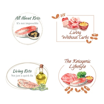 Diseño de logotipo con concepto de dieta cetogénica para branding y marketing ilustración acuarela.