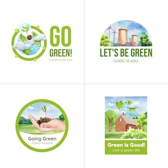 Diseño de logotipo con concepto de energía verde en estilo acuarela