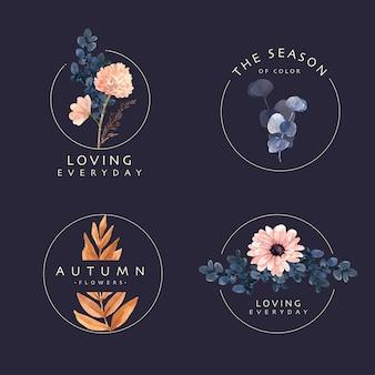 Diseño de logotipo con concepto de flor de otoño para marca y marketing ilustración acuarela.