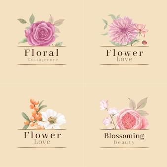 Diseño de logotipo con concepto de flores cottagecore, estilo acuarela