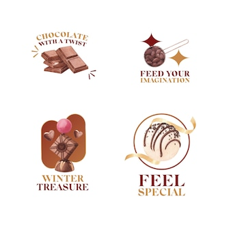 Diseño de logotipo con concepto de invierno chocolate para branding y marketing ilustración vectorial acuarela